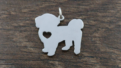 Shih Tzu Pet dog pendant sterling silver handmade by saw piercing Caroline Howlett Design